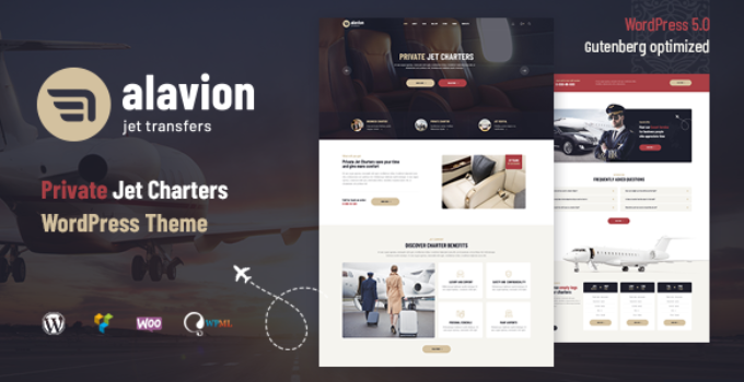 Alavion - Private Jet Charters WordPress Theme