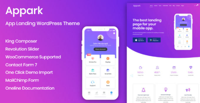 App Landing Appark – App Landing WordPress Theme