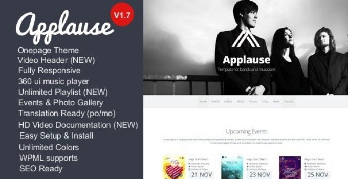 Applause -One-Page Responsive Music & DJ WP Theme