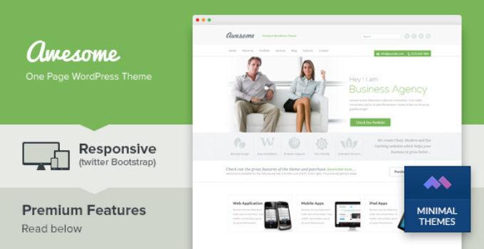 Awesome - One Page Business Portfolio WordPress Theme