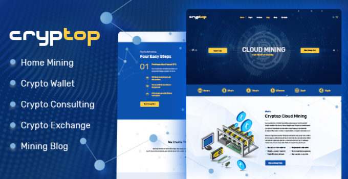 CrypTop - ICO Landing and CryptoCurrency WordPress Theme