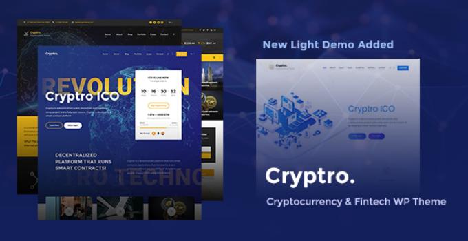 Cryptro - Cryptocurrency, Blockchain , Bitcoin & Financial Technology WordPress Theme