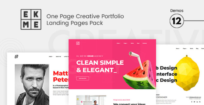 Ekme - One Page WordPress Landing Pages Theme