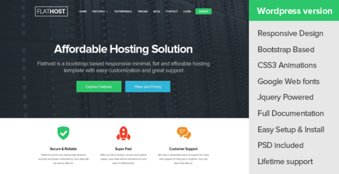 FlatHost WordPress Hosting Theme + WHMCS FREE Download