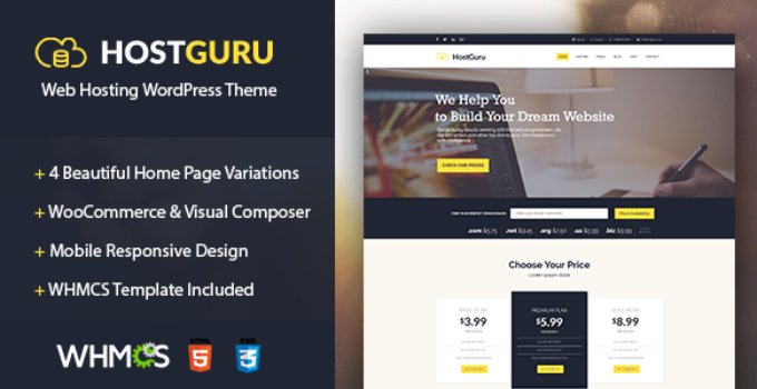 HostGuru - Responsive Web Hosting WordPress Theme + WHMCS