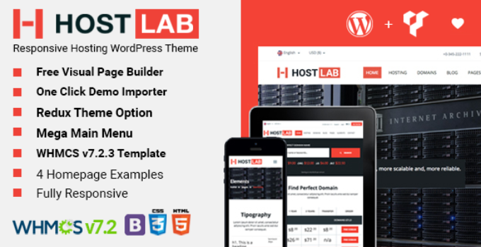 HostLab - Responsive Hosting Service With WHMCS WordPress Theme