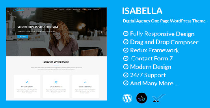 Isabella - Digital Agency One Page WordPress Theme