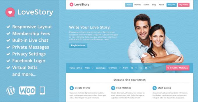 Love story - datování wordpress téma ke stažení