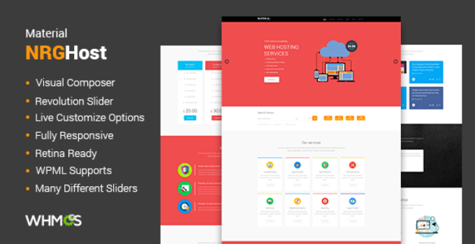 Material Web Hosting WordPress Theme + WHMCS