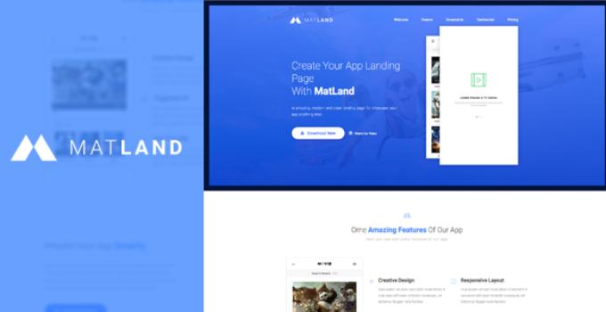 MatLand - WordPress App Landing Page
