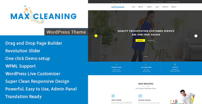 Max Cleaning - Cleaning Company WordPress Theme