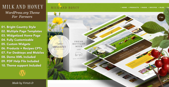 Milk And Honey–WP Theme For Farmers and Agriculture Business