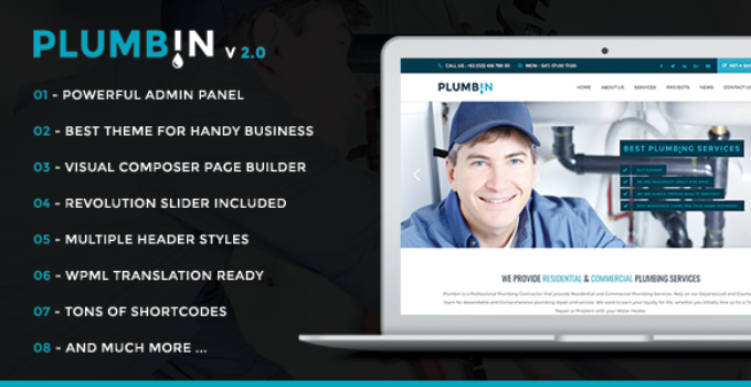 Plumbin - Plumbing and Construction WordPress Theme