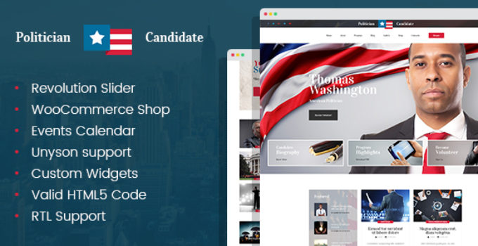 Politician - political party candidate modern WordPress theme