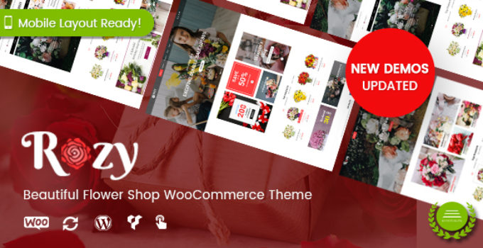 Rozy - Flower Shop WordPress WooCommerce Theme (4+ Indexes + Mobile Layouts Ready)