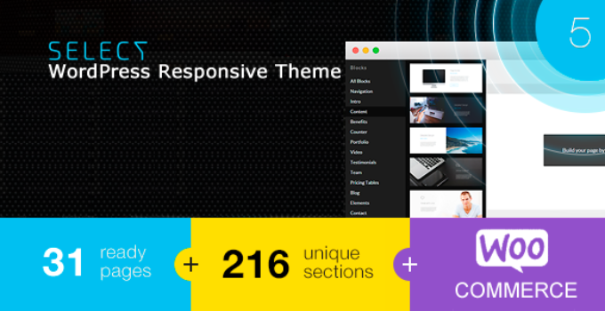 Select - Responsive Landing Page WordPress Theme