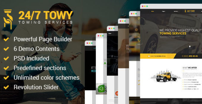 Towy - Emergency Auto Towing and Roadside Assistance Service WordPress theme
