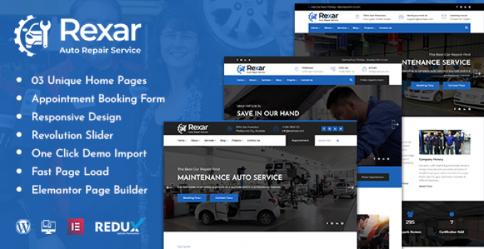 Rexar | Auto Mechanic WordPress Theme