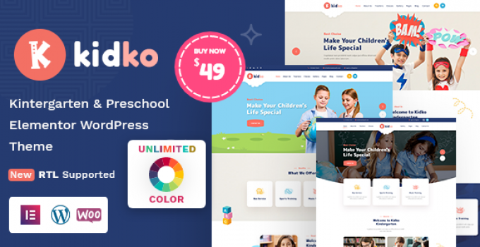 Kidko - Kindergarten & Baby Care WordPress Theme + RTL