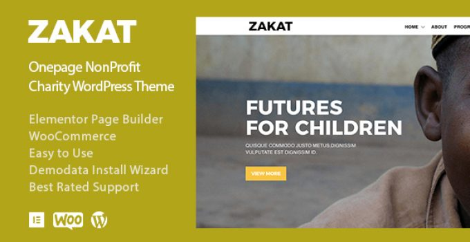 Zakat - Onepage Elementor Charity WordPress Theme