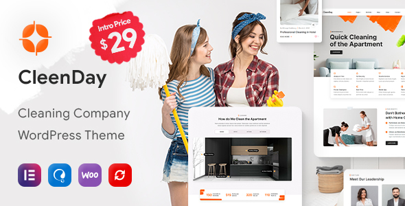 CleenDay - Cleaning Company WordPress Theme FREE Download