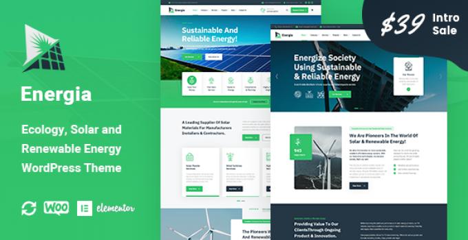 Energia - Renewable Energy WordPress Theme